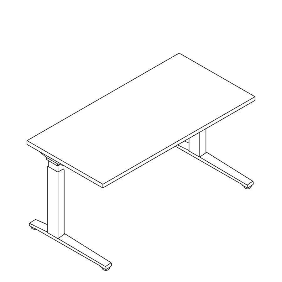 A line drawing of a rectangular Renew Sit-to-Stand Table.