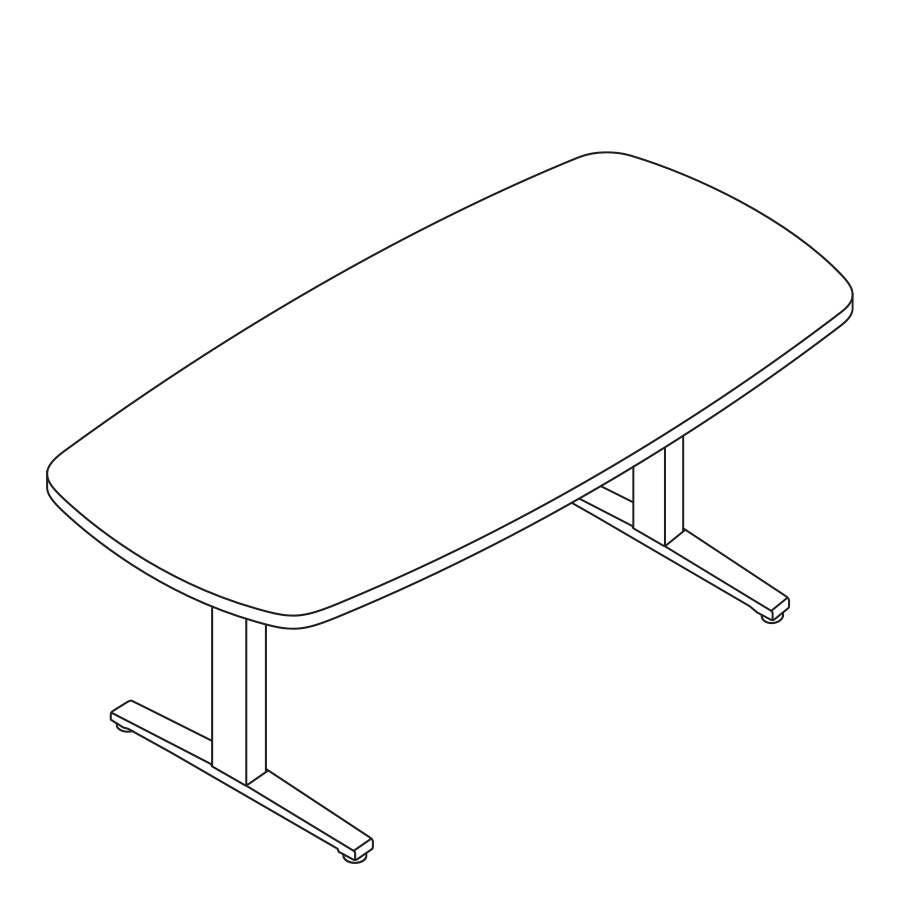 A line drawing of an oval Renew Sit-to-Stand Table with a T-Foot.