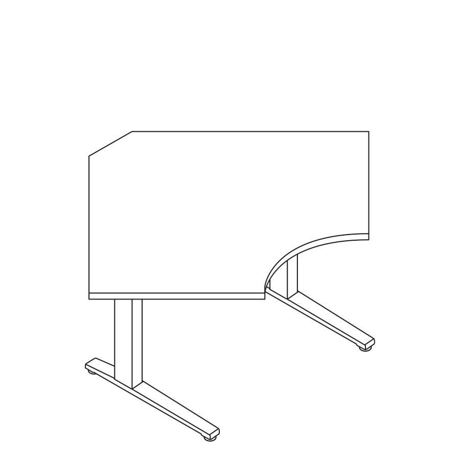 A line drawing of a 90-degree Corner Renew Sit-to-Stand Table.
