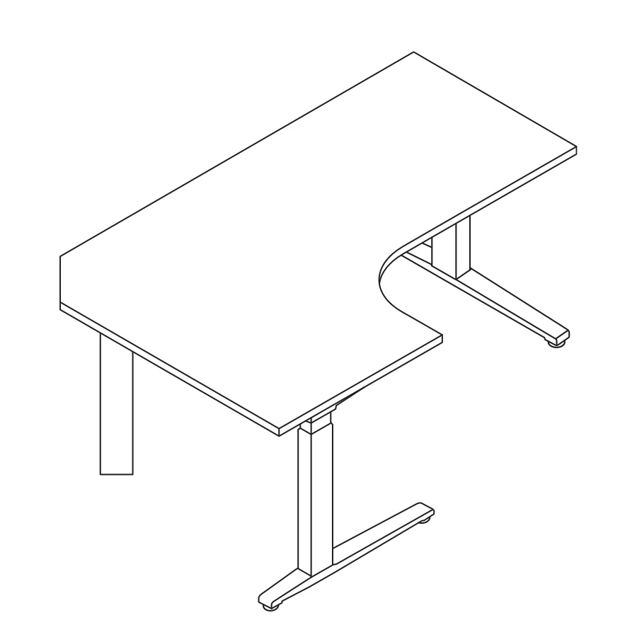 A line drawing of a 90-degree Extended Corner Renew Sit-to-Stand Table.