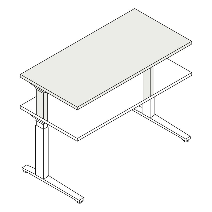 A line drawing of the standing desk, Renew Sit-to-Stand Table, extended to its maximum height range.