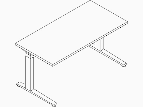 A line drawing of a rectangular Renew Sit-to-Stand Table with a C-Foot.