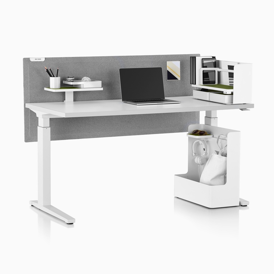 White Ubi Work Tools with a Renew Sit-to-Stand Table, includes Ubi Organizer, Ubi Attached Shelf, and Ubi Mobile Bag Catch.