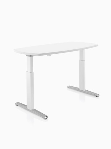 An oval Renew Sit-to-Stand Table with a white top. Select to go to the Renew Sit-to-Stand Tables product page.