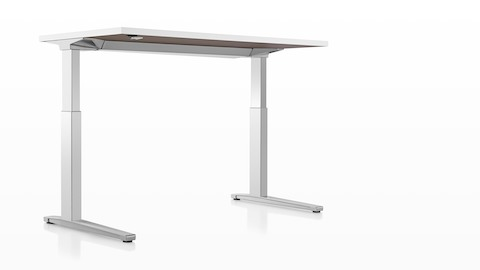 A view of the underside of a Renew Sit-to-Stand Table, showing the slim legs and uncluttered design.