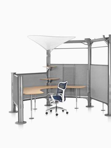 A Mirra 2 office chair in an open workstation formed by Resolve screens. Select to go to the Resolve System product page.