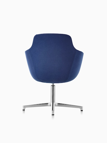 Mid-back Saiba lounge chair in blue fabric with a polished four-star base and glides, viewed from the rear.
