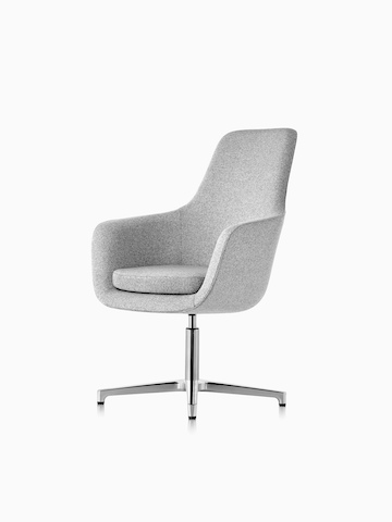 High-back Saiba lounge chair in light gray fabric with a polished four-star base and glides, viewed from a 45-degree angle.