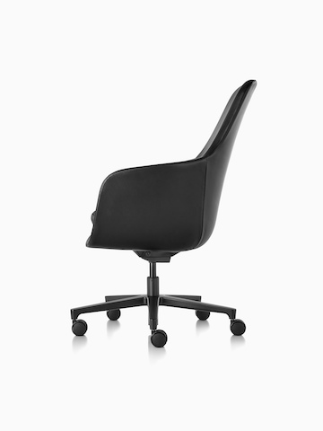 Profile view of a high-back Saiba executive chair in black leather with a black five-star base and casters.