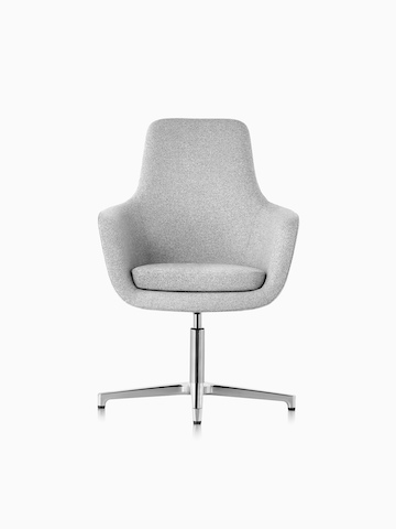 High-back Saiba lounge chair in light gray fabric with a polished four-star base and glides, viewed from the front.
