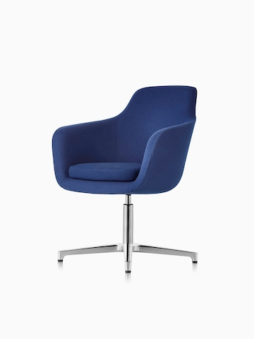 Mid-back Saiba lounge chair in blue fabric with a polished four-star base and glides, viewed from a 45-degree angle.