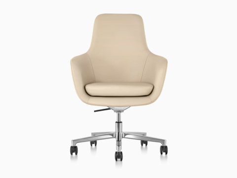 High-back Saiba Chair in tan leather, viewed from the front.