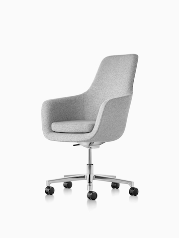 Light gray Saiba office chair. Select to go to the Saiba Chair product page.