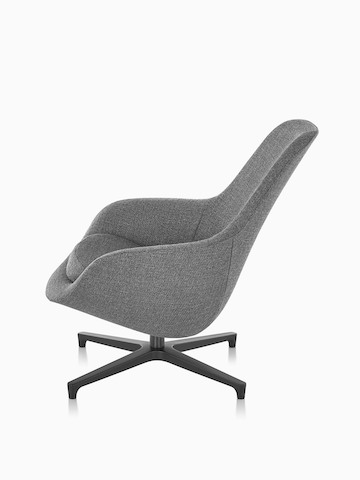 Profile view of a gray Saiba Lounge Chair.
