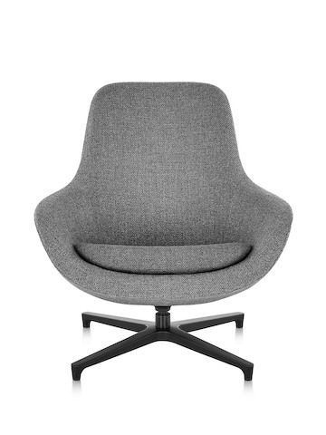 Front view of a gray Saiba Lounge Chair, showing the contoured high back.