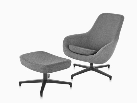 Gray Saiba Lounge Chair and Ottoman viewed from a 45-degree angle.  sc 1 st  Herman Miller & Saiba - Lounge Seating - Herman Miller