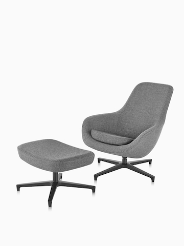 Gray Saiba Lounge Chair. Select to go to the Saiba Lounge Chair and Ottoman product page.