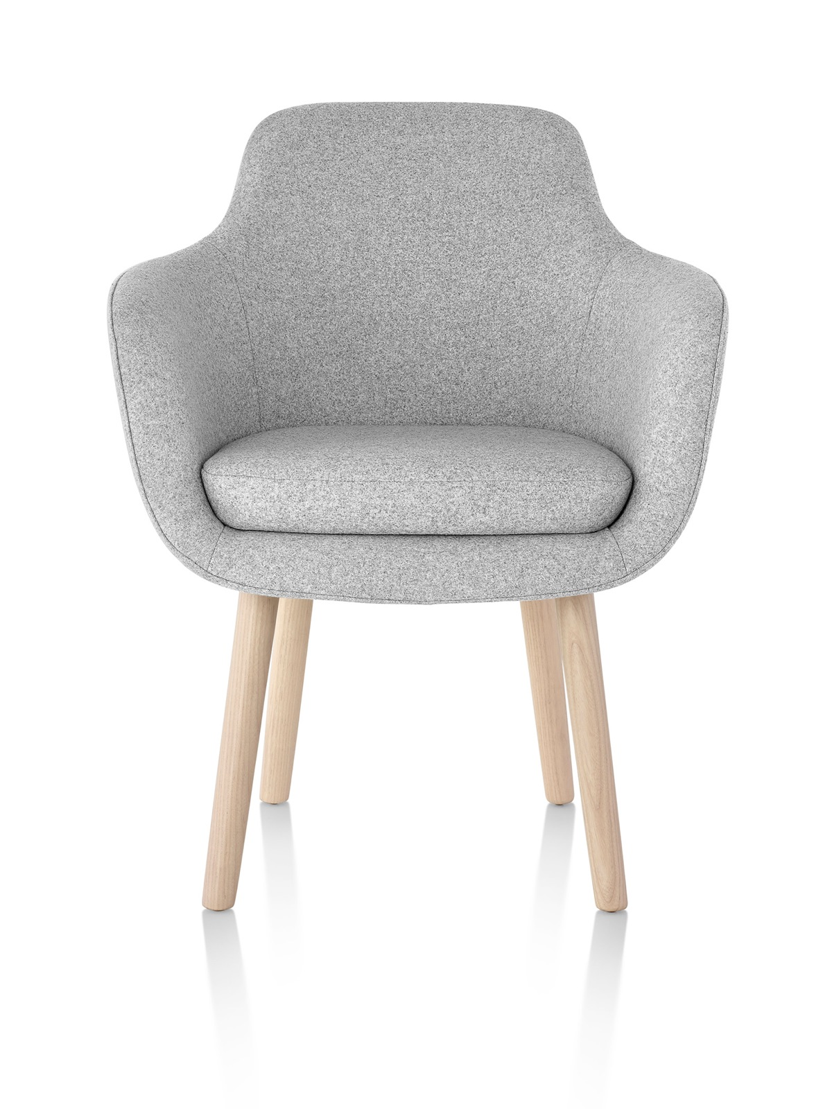 A light gray Saiba Side Chair, featuring an upholstered bucket seat and wood legs, viewed from the front.