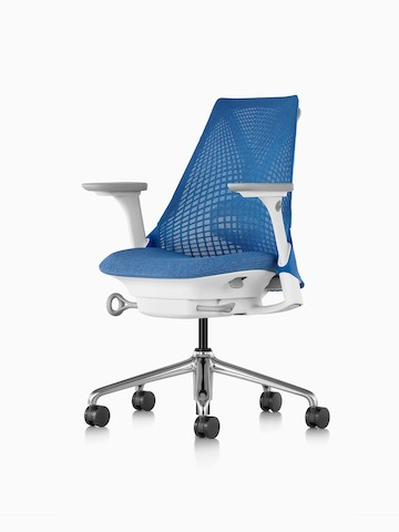 Blue Sayl office chair with a suspension back, viewed from a 45-degree angle.