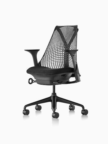 Black Sayl office chair with a suspension back, viewed from a 45-degree angle.