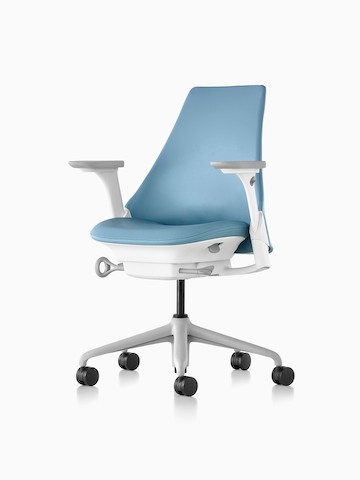Light blue Sayl office chair with an upholstered seat and back, viewed from a 45-degree angle.