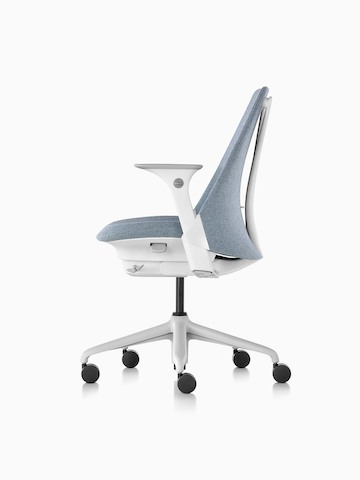 Profile view of a light gray Sayl office chair with an upholstered seat and back.