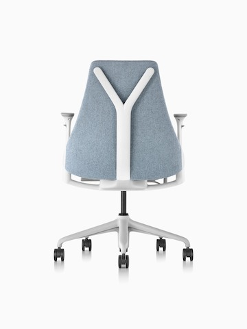Rear view of a light gray upholstered Sayl office chair, showing back support.
