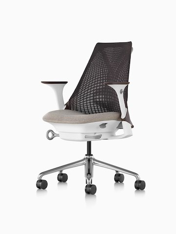 Black Sayl office chair with a suspension back and tan upholstered seat, viewed from a 45-degree angle.