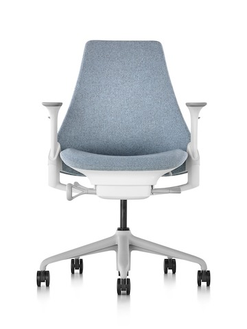 Front view of a light gray Sayl office chair with an upholstered seat and back.