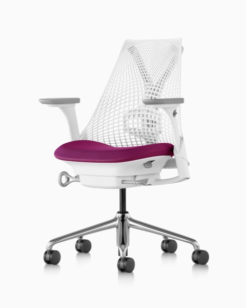 A white Sayl office chair with a magenta upholstered seat.