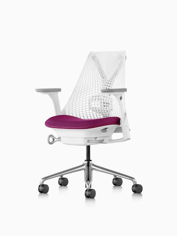 A white Sayl office chair with a magenta upholstered seat. Select to go to the Sayl Chairs product page.