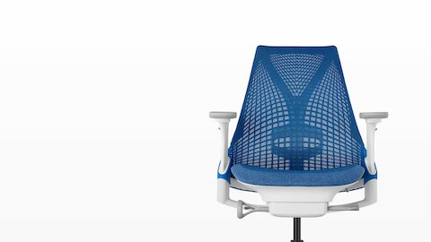 Front view of a blue Sayl office chair, showing the suspension back and upholstered seat.