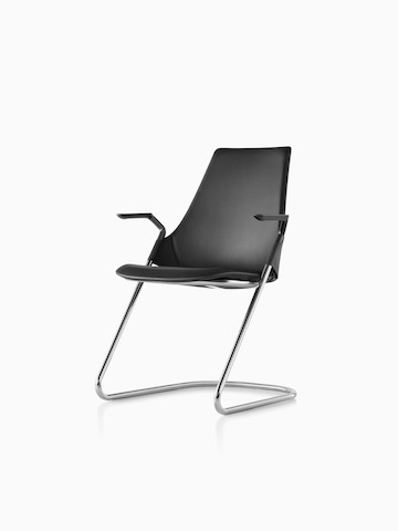 Black leather Sayl Side Chair with a sled base, viewed from a 45-degree angle.
