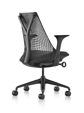 Rear view of a black Sayl office chair, showing the suspension tower that supports the back.