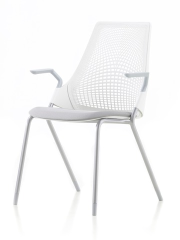 Lightweight white Sayl Side Chair with a suspension back, viewed from a 45-degree angle.