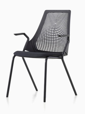 Lightweight black Sayl Side Chair with a suspension back, viewed from a 45-degree angle.