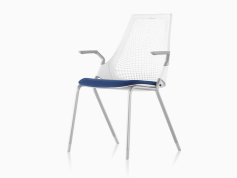 White Sayl Side Chair with a suspension back and blue upholstered seat, viewed from a 45-degree angle.