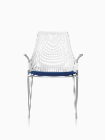 White Sayl Side Chair with a blue seat.