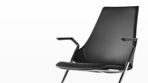 Black leather Sayl Side Chair, viewed from a 45-degree angle.