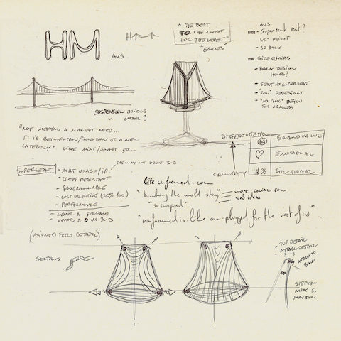 Sketches from designer Yves Béhar, showing how the Golden Gate Bridge inspired the Sayl office chair and stool.
