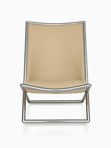 Tan Scissor Chair, viewed from the front.