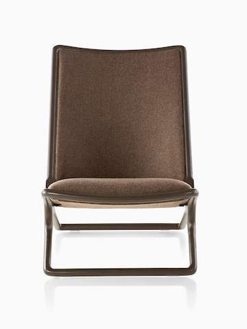 Brown Scissor Chair, viewed from the front.
