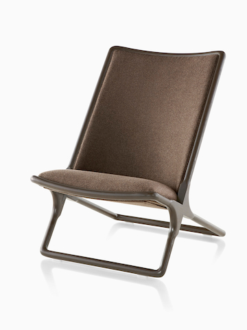 Brown Scissor Chair, viewed from the front at an angle.