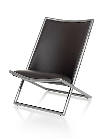 Black leather Scissor Chair with chome frame, viewed from the front at an angle.