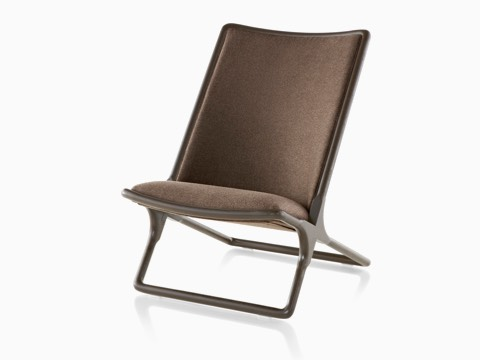 Scissor Chair with brown wood frame and brown upholstery, viewed from the front at an angle.