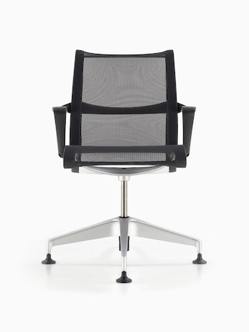 Black Setu office chair, viewed from the front.