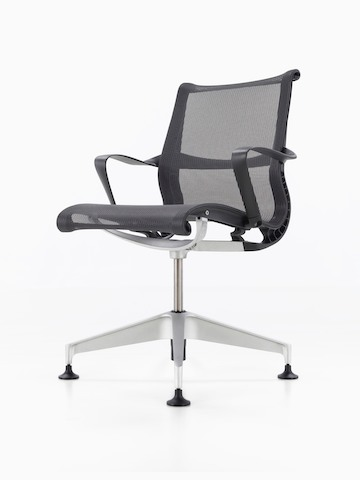 Black Setu office chair, viewed from a 45-degree angle.