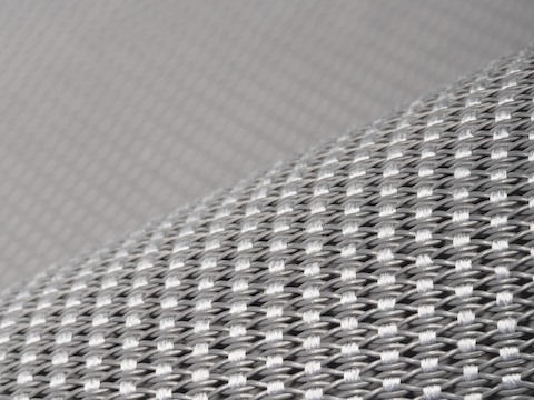 Close-up of the elastic suspension material used in the Setu office chair.