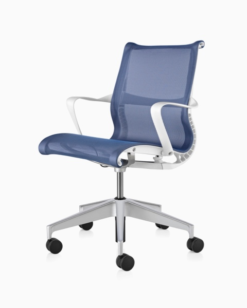 Blue Setu office chair, viewed from a 45-degree angle.