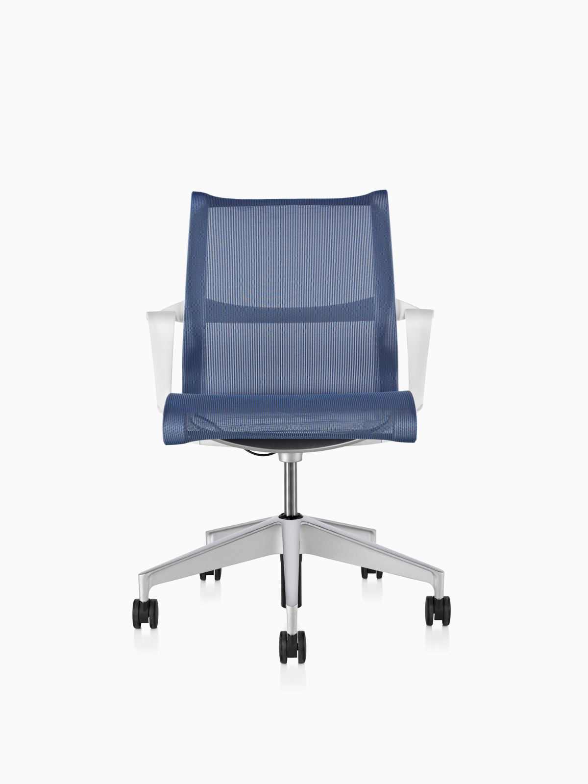 Blue Setu office chair, viewed from the front.